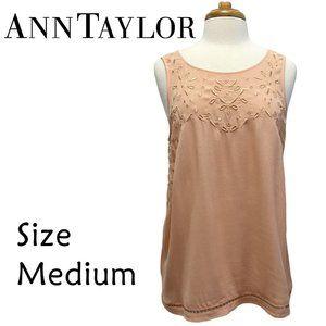 Ann Taylor Peach Sleeveless Embroidery Size Medium